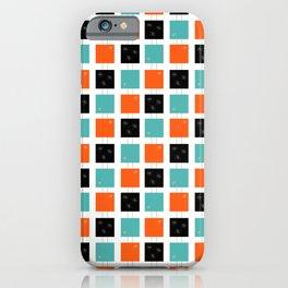 Retro Stacked Squares Orange Teal Black iPhone Case