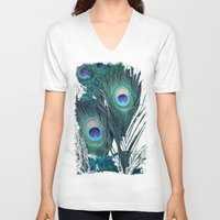 peacock V-neck T-shirts featuring Peacock by KunstFabrik_StaticMovement Manu Jobst