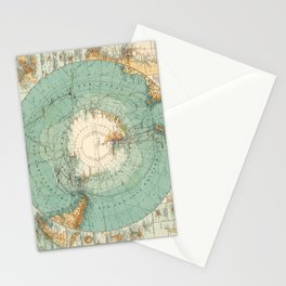 Vintage Map of Antarctica, 1912 Stationery Cards