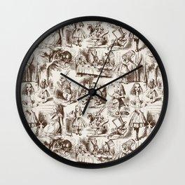 Alice in Wonderland   Toile de Jouy   Brown and Beige Wall Clock