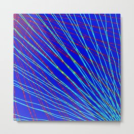 Many rays of light blue light with symmetrical bright waves on blue black. Metal Print