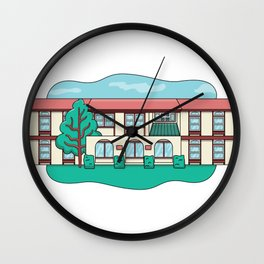 House with tree and windows Wall Clock