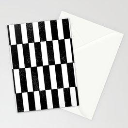 Minimal linocut black and white geometric pattern basic lines stripes Stationery Cards