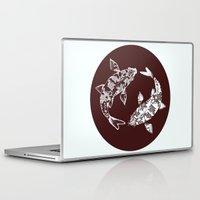 ying yang Laptop & iPad Skins featuring Ying Yang Koi by minniemorrisart