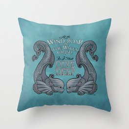 Dive Deep - Silver Dolphins Throw Pillow