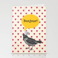 bonjour Stationery Cards featuring Bonjour! by Sreetama Ray