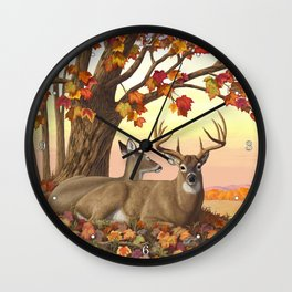 Hilltop Retreat Whitetail Deer Painting Wall Clock