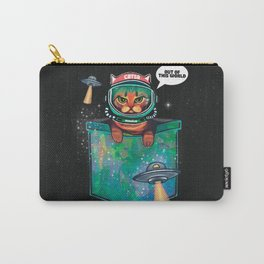 Grumpy bengal space cat in pocket out of this world Carry-All Pouch
