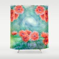poppies Shower Curtains featuring Poppies by LudaNayvelt
