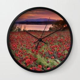 """Sea of poppies"". Sunset at the lake Wall Clock"