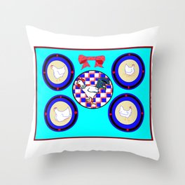 A Country Wall of Plates with Chickens and a Bow with Blue back Throw Pillow