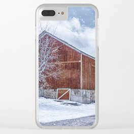 Snowing at the Farm Clear iPhone Case
