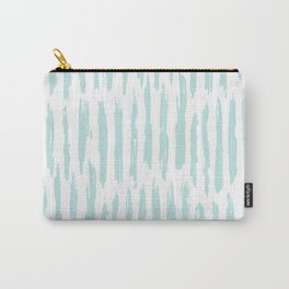 Vertical Dash Stripes Succulent Blue and White Carry-All Pouch