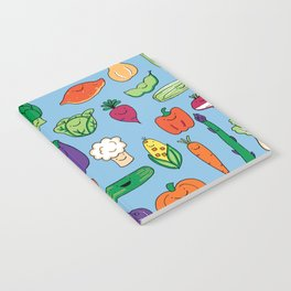 Cute Smiling Happy Veggies on blue background Notebook