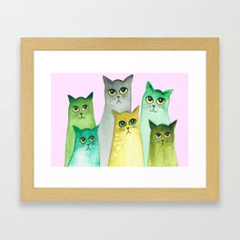Bismarck Whimsical Cats Framed Art Print