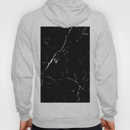Gentle Fracture - Black And White Abstract Marble Pattern Minimalist Hoody