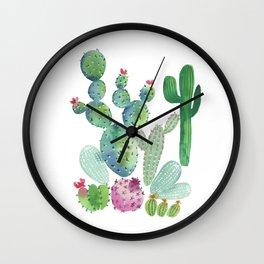 Watercolor Cacti bold Wall Clock