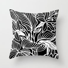 Black White Floral Throw Pillow