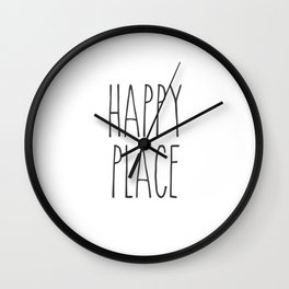 Happy Place Saying Wall Clock