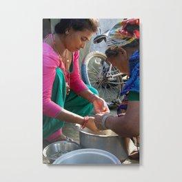 Nepal Villagers Prepare Fish Metal Print