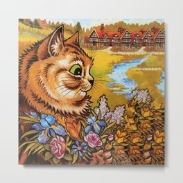 Country Cottage Cat - Louis Wain Cats Metal Print