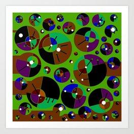 Bubble green black Art Print