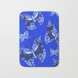 Blue Folk Butterflies Bath Mat