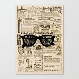 Vintage Comic Book Classified Ad Print with X-Ray Specs Canvas Print