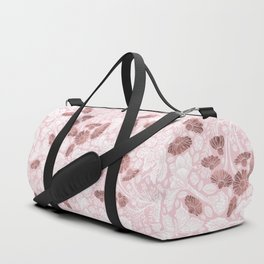 Chic Blush Pink White Rose Gold Butterfly Floral Duffle Bag