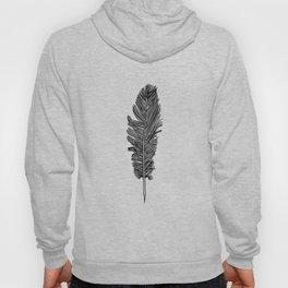 Black & White Boho Chic Single Feather Native American Minimalist Hoody