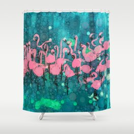 :: Flamingos Among Us :: Shower Curtain