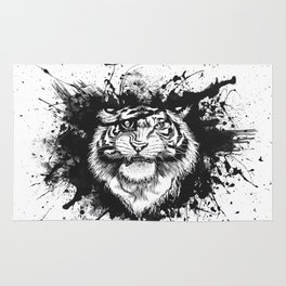 TigARRGH!! (Black and White) Rug