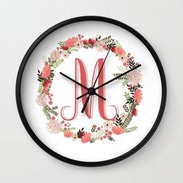 Personal monogram letter 'M' flower wreath Wall Clock