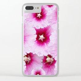 FUCHSIA-PINK HOLLYHOCK  FLOWER PATTERNS Clear iPhone Case