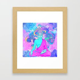 Sitting Buddha among psychedelic Mushrooms Framed Art Print