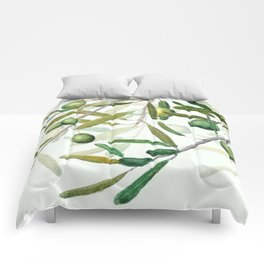 Green Olive watercolor painting Comforters