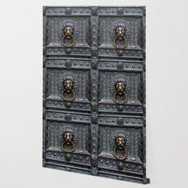 Doorknocker Lion - Black / Gold Wallpaper