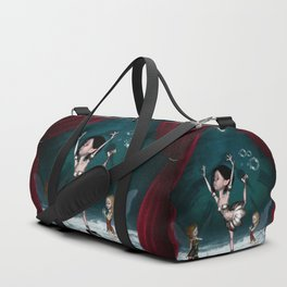 Cute fairy dancing on a piano on the beach Duffle Bag