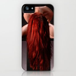 0788-MAK Submissive Redhead Woman Kneeling On Pedestal Long Red Hair iPhone Case