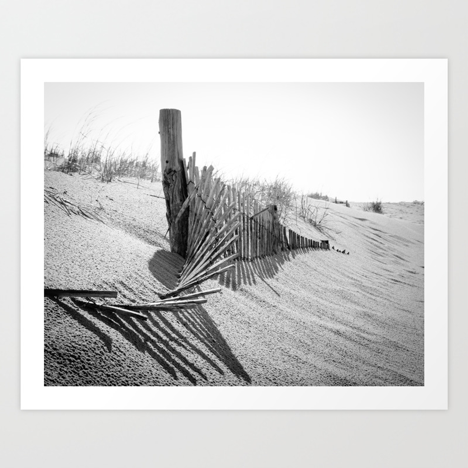 High key beach sand dunes and fencing coastal black and white landscape photo art print