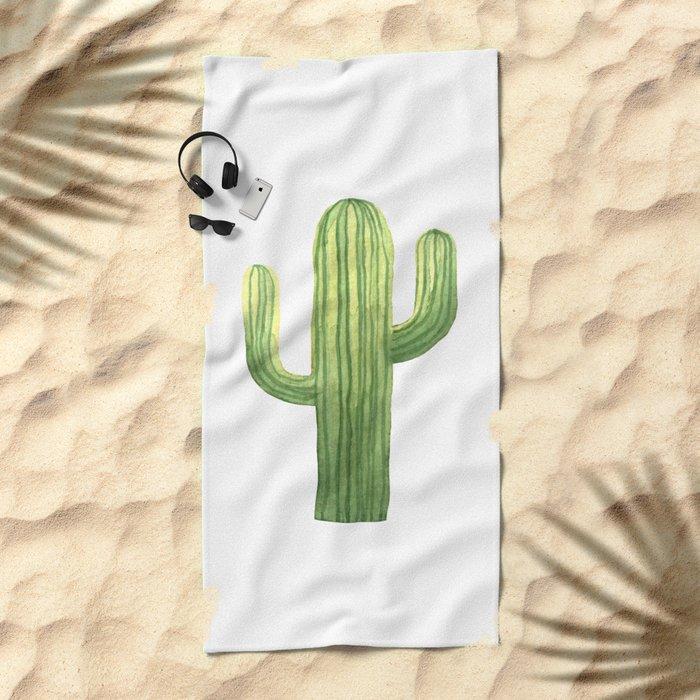 Simple Green Cactus on White Beach Towel