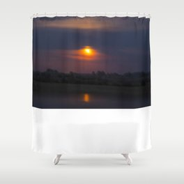 Blood Moon, Night in Countryside Shower Curtain