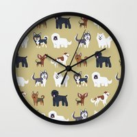 russian Wall Clocks featuring RUSSIAN DOGS by DoggieDrawings
