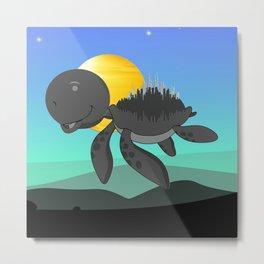 Blue Sky Flying Turtle Metal Print