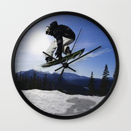 Born To Fly Snowboarder & Mountains Wall Clock
