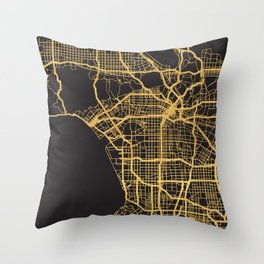 LOS ANGELES CALIFORNIA GOLD ON BLACK CITY MAP Throw Pillow