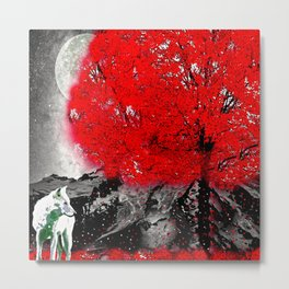TREE RED WOLF WHITE Metal Print