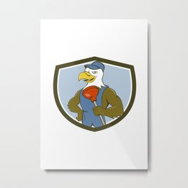 Bald Eagle Plumber Plunger Crest Cartoon Metal Print