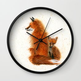 Fox Mama and Kit - animal watercolor painting of fox mother and baby Wall Clock