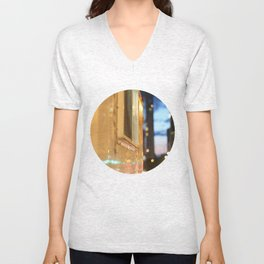 Hot dog cart light reflections Granville St Vancouver Unisex V-Neck